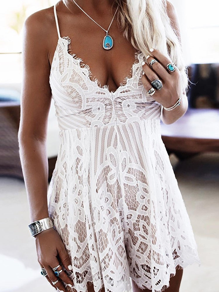 Sleeveless Sexy Low Cut Lace Romper