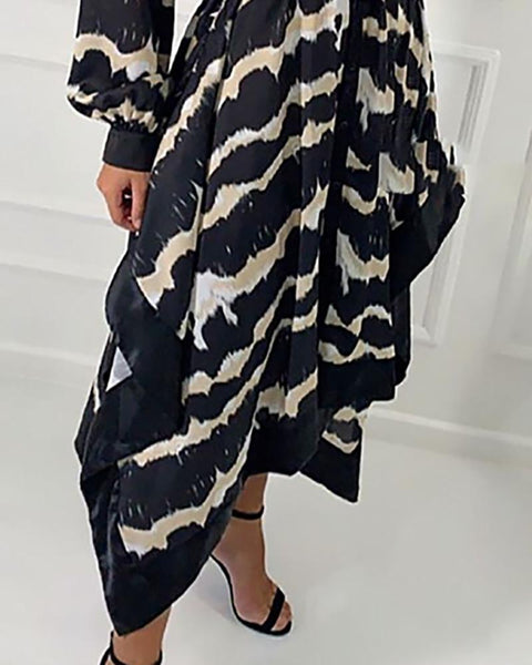 Wave Print Irregular Shirt Dress