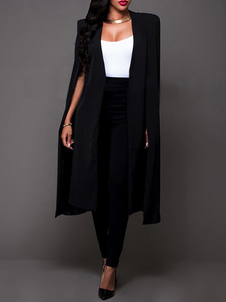 Cape Design Long Trench Coat