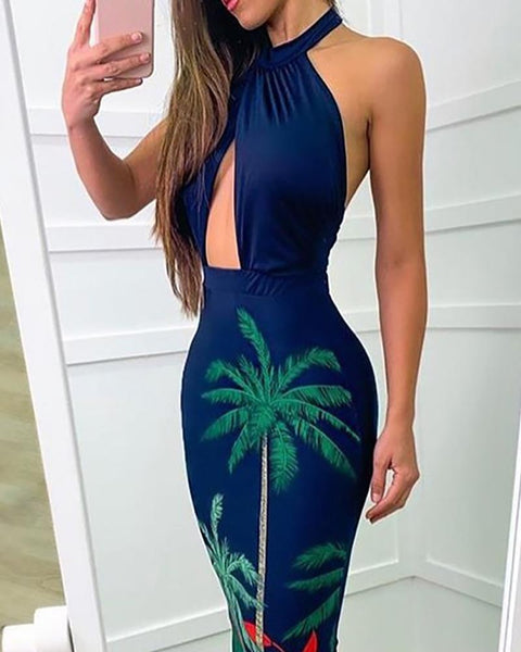 Halter Print Cutout Fishtail Maxi Dress