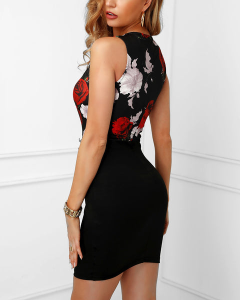 Floral Print Insert Buttoned Bodycon Dress
