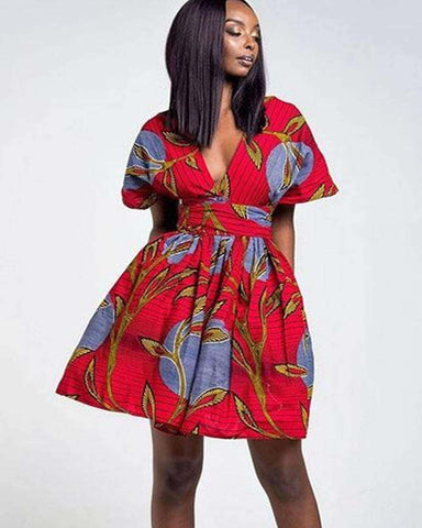 African Ankara Print Multi Way Wrap Dress