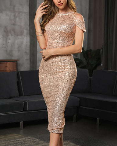 Cold Shoulder Sequin Bodycon Dress