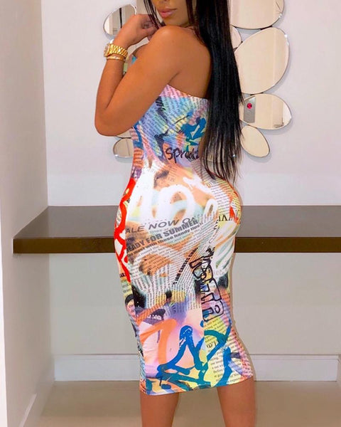 Colorful Letter Print Off Shoulder Bodycon Dress