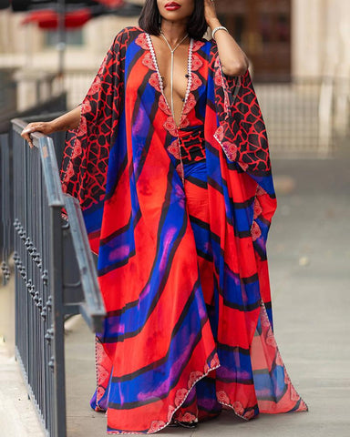 Colorful Striped Print Plunge Cover Up And Pant Sets