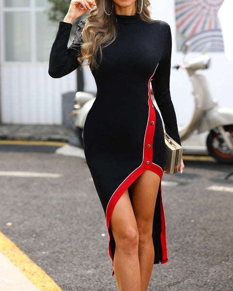 Contrast Binding Slit Long Sleeve Bodycon Dress