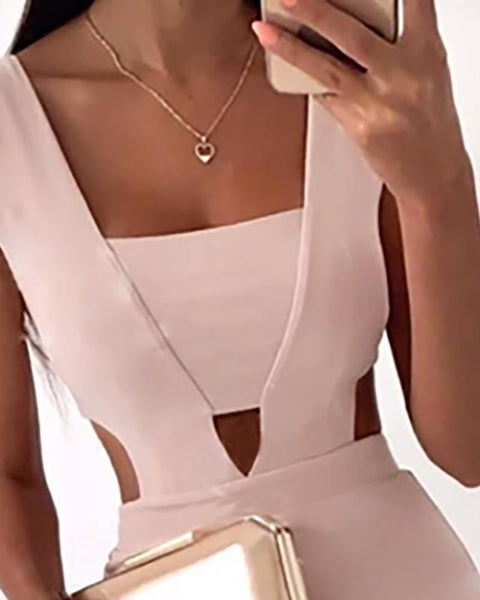 Cut Out Waist Slit Irregular Bodycon Dress