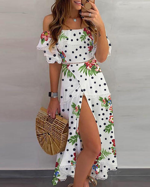 Dot floral Print Thigh Slit Casual Dress