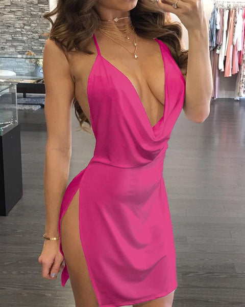 Drape Neck Open Back Side Slit Party Dress