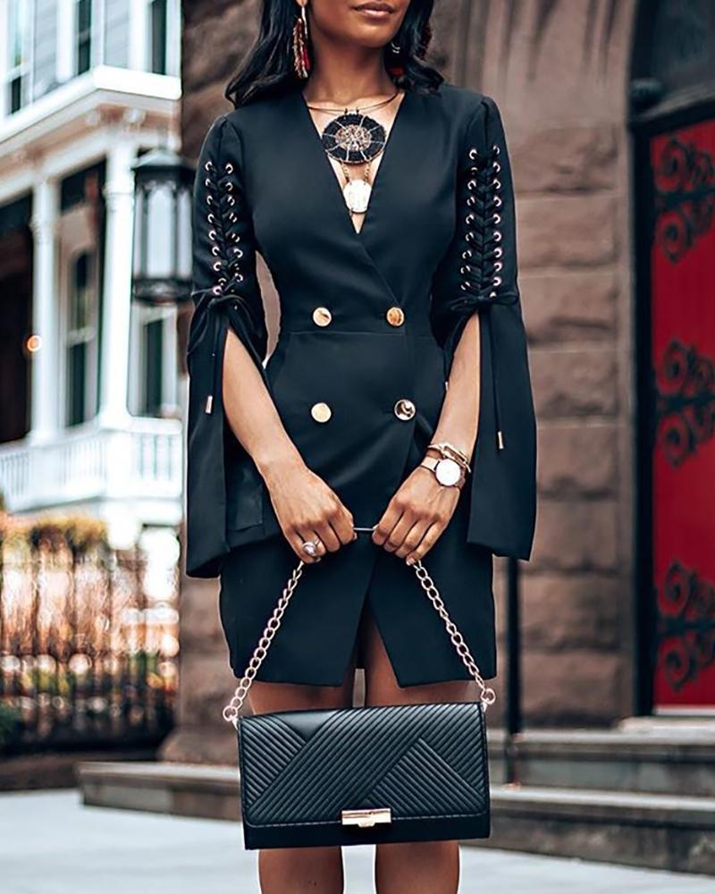 Eyelet Lace-up Slit Sleeve Buttoned OL Blazer Dress