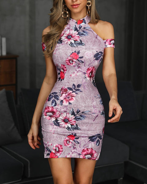 Floral Print Cold Shoulder Bodycon Dress