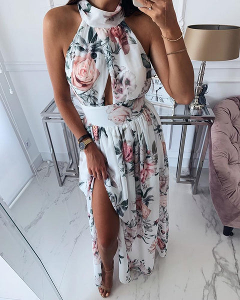 Floral Print Knotted Backless slit Dress