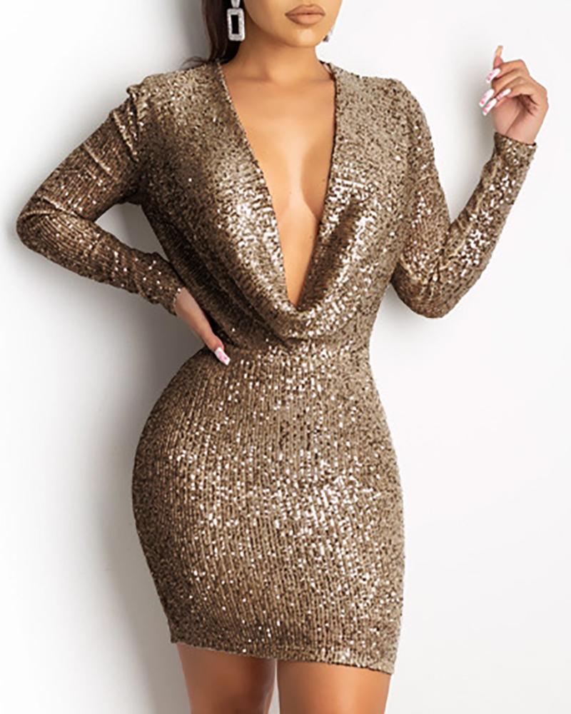 Glitter Plunge Sequins Bodycon Dress