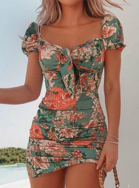 Women Casual Floral Square Neck Tie Front Dress