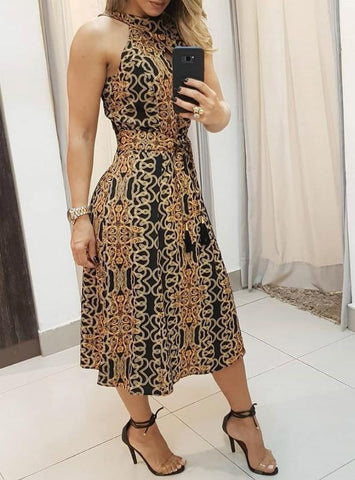 Women High Neck Baroque Print Sleeveless Dress
