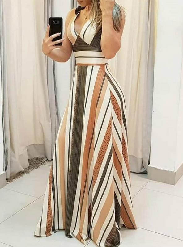 Women Casual Striped Colorblock Plunge Maxi Dress