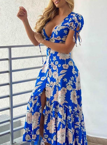 Women Floral Print Plunge Tied Detail Slit Maxi Dress