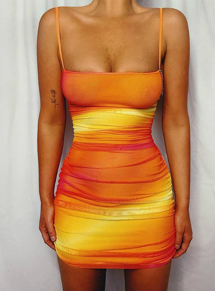 Women Gradient Color Ruched Cutout Back Bodycon Dress