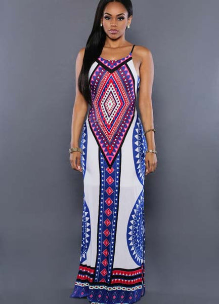 Halter off Shoulder Backless Stripe Slit Maxi Dress