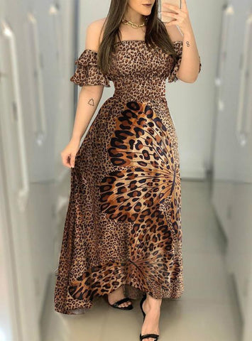 Off Shoulder Cheetah Butterfly Print Maxi Dress