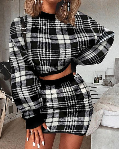 Grid Long Sleeve Crop Top & Mini Skirt Sets
