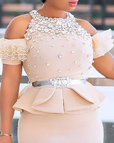 Hot Stamping Layered Frill Cold Shoulder Ruffles Top & Skirt Sets