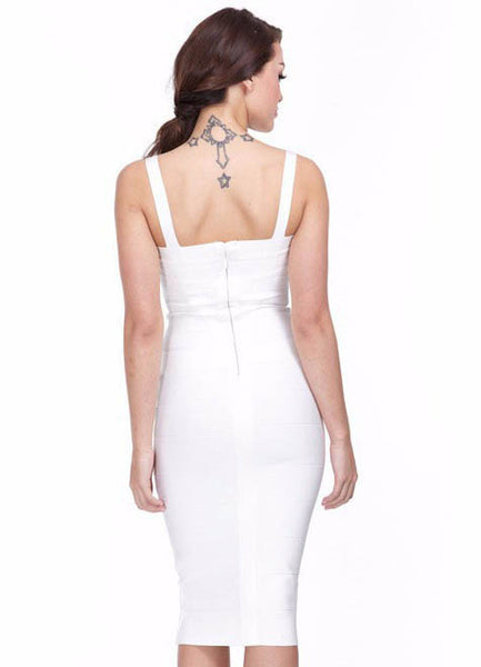 Knee Length White Bodycon Dress