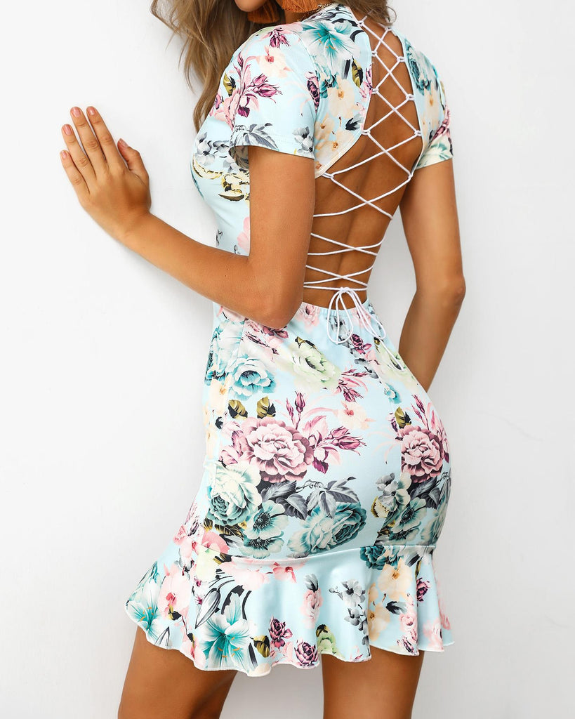 Lace-Up Back Ruffles Print Dress