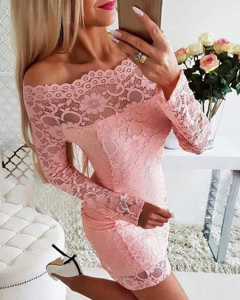 Lace Flower Embroidery Bodycon Dress