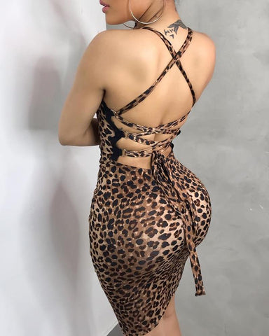 Leopard Lace-Up Backless Design Bodycon Dress