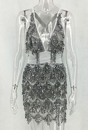 MIAH - DRIPPING SEQUINS DRESS