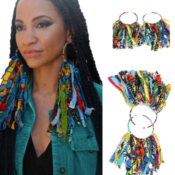 African Clothing Women Accessories Ankara Dashiki Earrings Handmade  Q11790