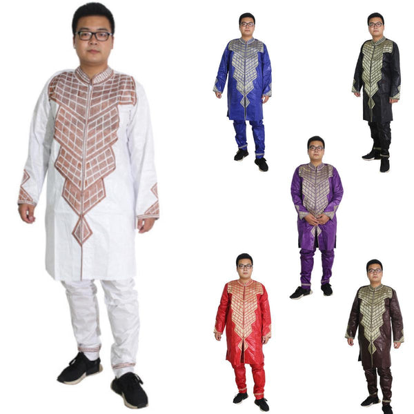 Dashiki African Mens Clothing 2-Piece Embroidered Set Tops Pant Y20740