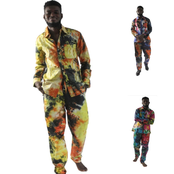 African Clothing Men Embroidery Shirt-Pants Traditional Dashiki Kitenge Y20756