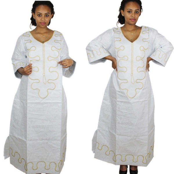 African Clothing For Women Bazin Riche Embroidery Design Long White Dress X21175