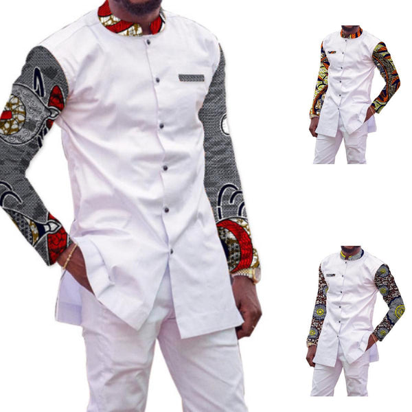 African Clothing Men'S Dashiki Tops+Pants Ankara Stand Collar Y10866