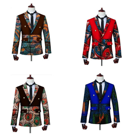African Ankara Dashiki Print Blazers Jacket Long Sleeve Suit Y10535