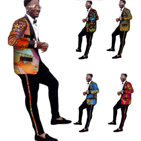Men African Dashiki Cotton Wax Print Suit Blazer Top and Black Pants Set Y10892