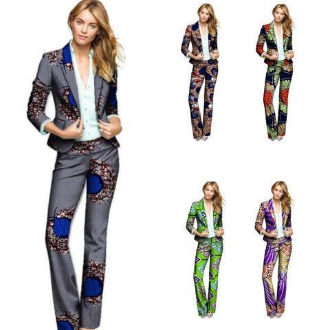 African Print Women Blazers with Pants Dashiki Suit-Pants Set for Ladies X10719