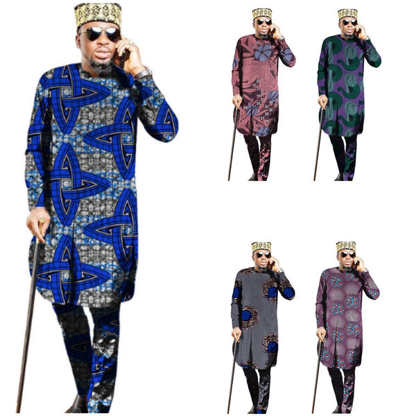 African Clothing For Men Ankara Dashiki Traditional Print Long Shirt with Y10870