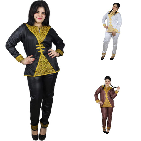 Women Dashiki Red Black Brown White Top-Pants with Gold Embroidery X20638