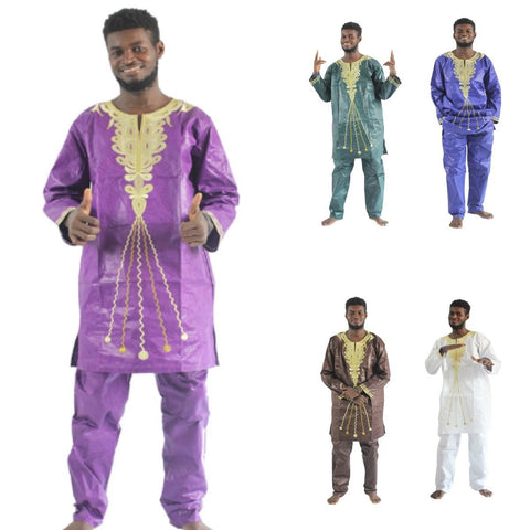 Traditional African Mens Clothing Embroidery Bazin Riche Long Sleeves Y20750