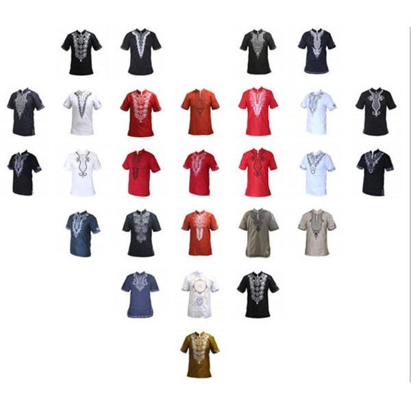 African Men Embroidery Print T-Shirt Geometric Print Stand Neck Top Y20461