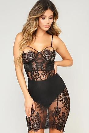 NAKESHA - LACE LINGERIE DRESS