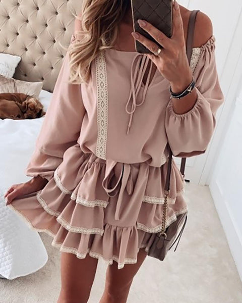 Off Shoulder Lace Insert Layered Ruffles Dress