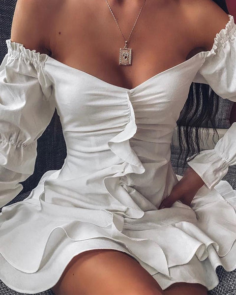 Off Shoulder Ruffle Sleeve Layered Dress