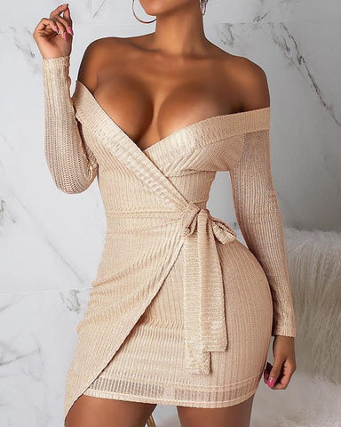Off Shoulder Surplice Wrap Bodycon Dress