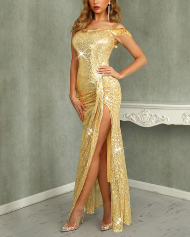 Off Shoulder Thigh Slit Sequin Evening Dress