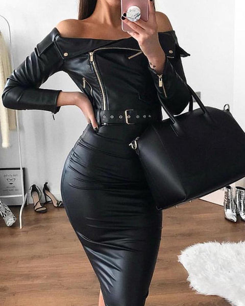 Off Shoulder Zipper Design Belted PU Dress