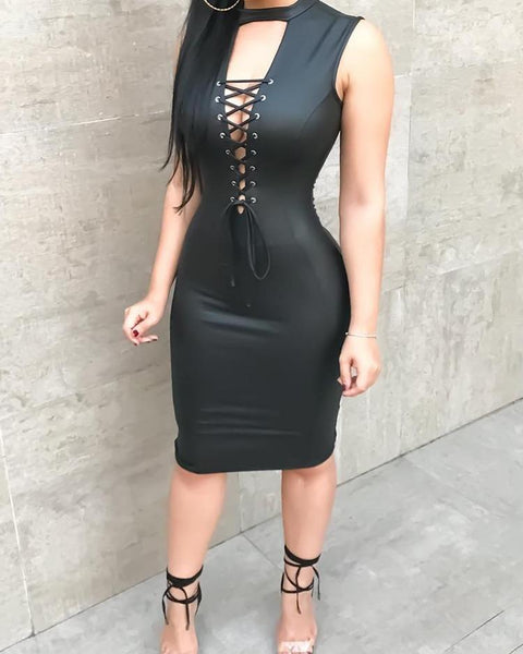 PU Deep V Lace-Up Front Slinky Bodycon Dress